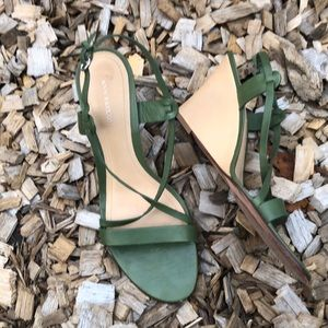 Ann Taylor Leather Wedge Sandals 9.5